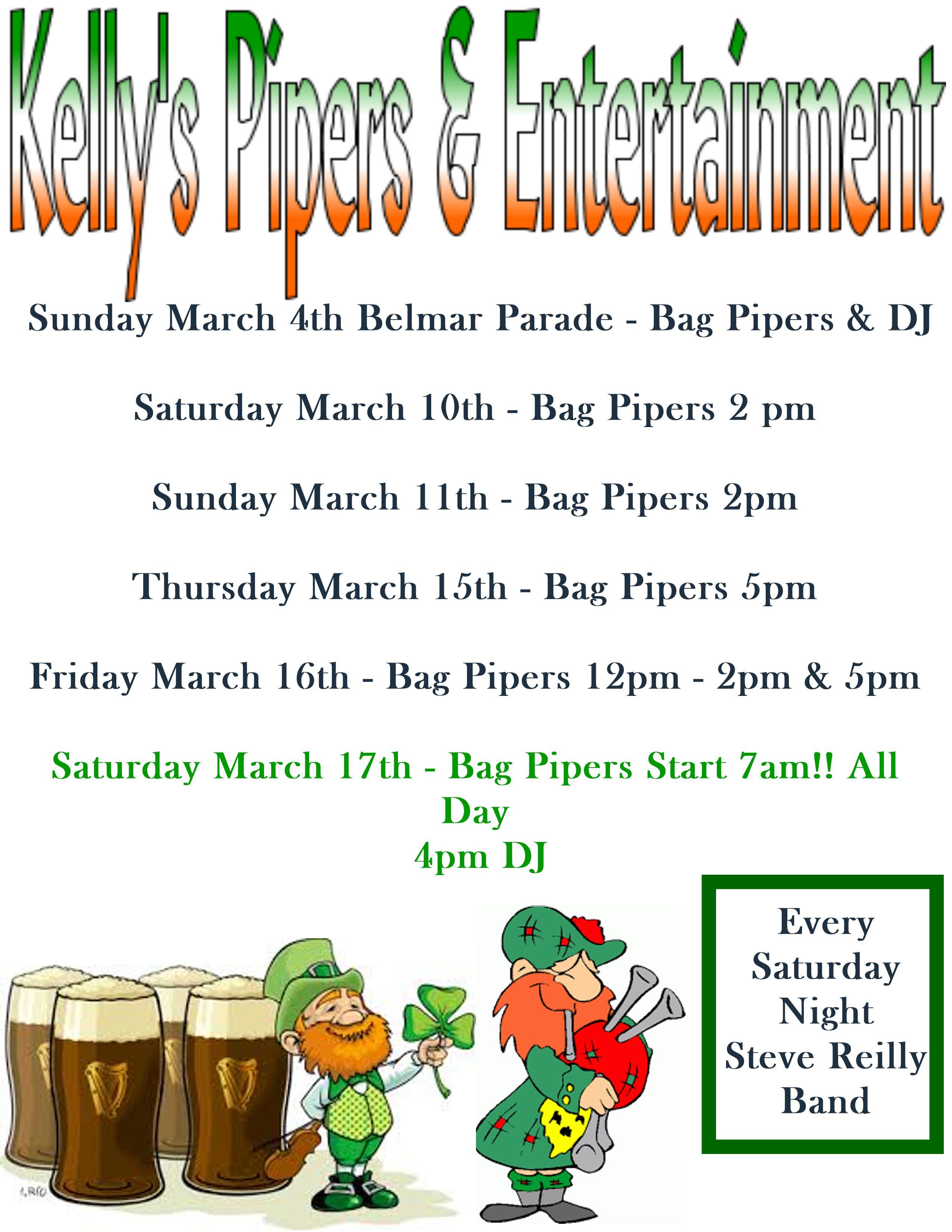 Bag Piper Schedule